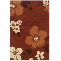 """Hand Tufted Trio Floral Rust & Pumpkin Polyester Rug (1'10"""" X 2'10"""")"""