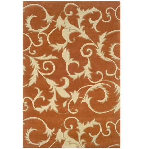 Hand Tufted Trio with A Twist Fronds Pumpkin & Ivory Polyester Rug