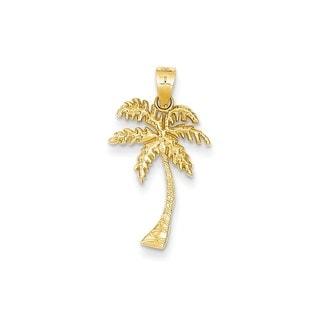 14k Yellow Gold Mini Palm Tree Pendant (Option: Yellow)