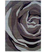 """Hand Tufted Trio With A Twist Grey & Charcoal Polyester Rug (1'10"""" X 2'10"""")"""