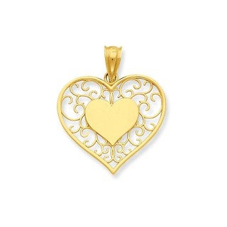 14k Yellow Gold Heart in Heart Filigree Pendant