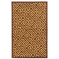 "Power Loomed Capri Greek Key Brown/Beige Polypropylene Rug (4'4""x7'3"")"