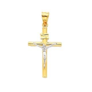 14k Two-tone Gold INRI Crucifix Pendant