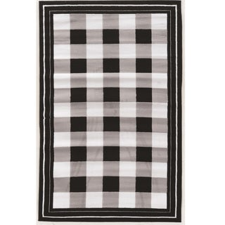 Safavieh Courtyard Plaid Black Bone Indoor Outdoor Rug