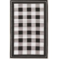 "Power Loomed Capri Buffalo Check Black Polypropylene Rug (4'4""x7'3"") - 4'4 x 7'3"