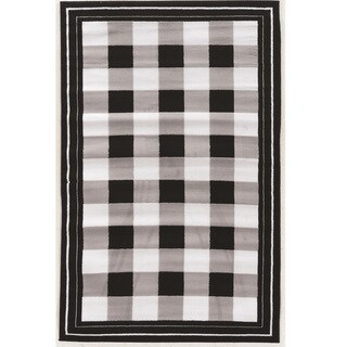 Power Loomed Capri Buffalo Check Black Polypropylene Rug