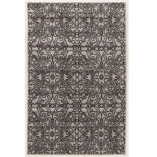"Power Loomed Capri iForum Gray and Black Polypropylene Rug (4'4""x7'3"")"
