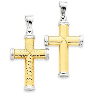 14k Gold and Rhodium 2-tone Reversible Cross