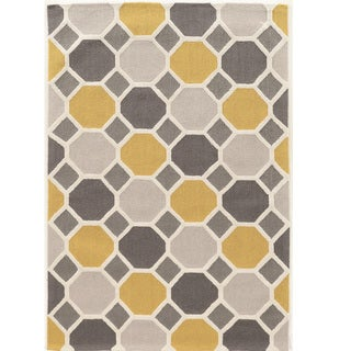 Hand Tufted TRIO Ceramic gold blue cream Polyester Rug (5' X 7')