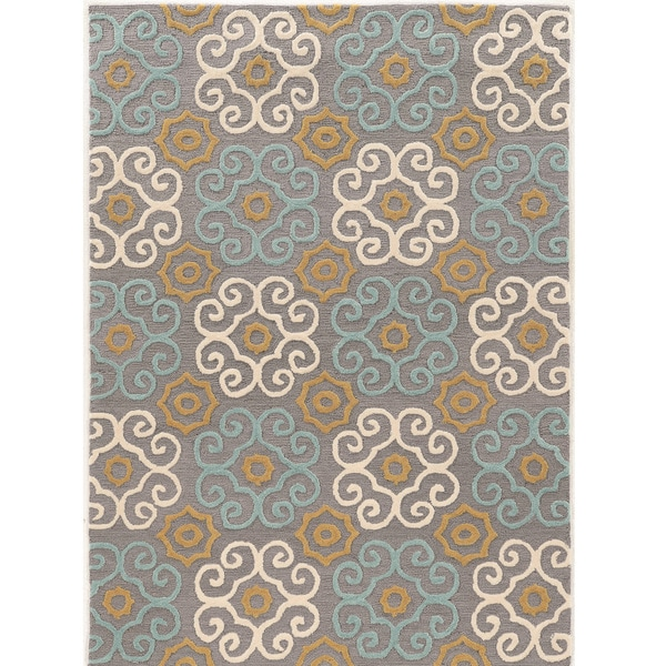 "Hand Tufted TRIO Clara Grey Blue Polyester Rug (1'10"" X 2'10"")"