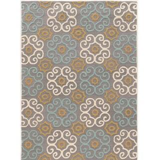 """Hand Tufted TRIO Clara Grey Blue Polyester Rug (1'10"""" X 2'10"""")"""