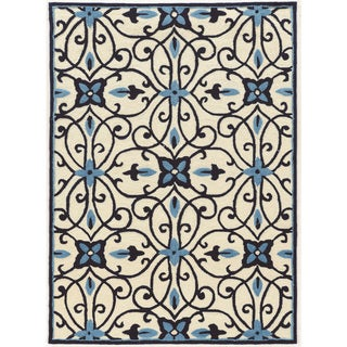 "Hand Tufted TRIO Cream blues cream Polyester Rug (1'10"" X 2'10"")"