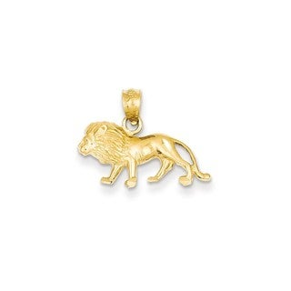 14k Yellow Gold Diamond-cut Lion Pendant