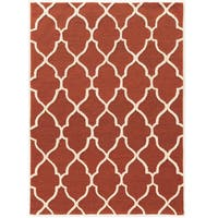"""Hand Tufted TRIO Geo Rust with cream Polyester Rug (1'10"""" X 2'10"""")"""