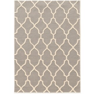 "Hand Tufted TRIO Geo Graywith cream silk Polyester Rug (1'10"" X 2'10"")"