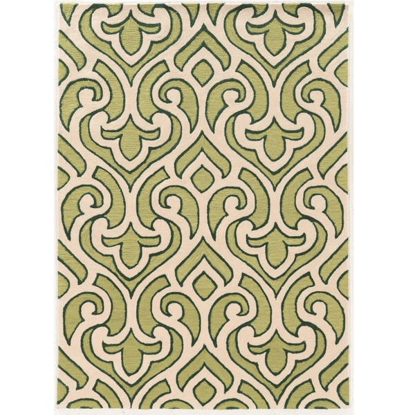 "Hand Tufted TRIO Loken Green Polyester Rug (1'10"" X 2'10"")"