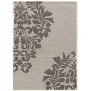 "Hand Tufted TRIO Medallion Grey Polyester Rug (1'10"" X 2'10"")"