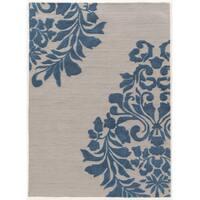 "Hand Tufted TRIO Medallion Grey Blue Polyester Rug (1'10"" X 2'10"")"