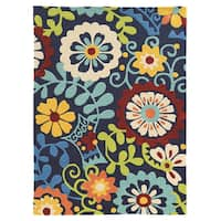 """Hand Tufted TRIO iFrond Blue Polyester Rug (1'10"""" X 2'10"""")"""