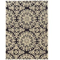 "Hand Tufted TRIO Medallion Navy Ivory Polyester Rug (1'10"" X 2'10"")"