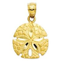 14k Yellow Gold Sand Dollar Pendant