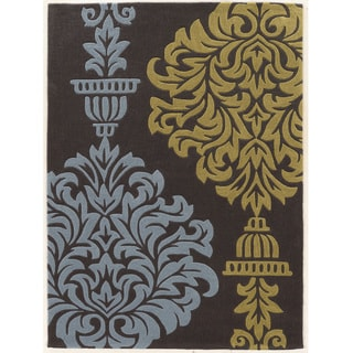 "Hand Tufted TRIO Urn Blue Green Grey Polyester Rug (1'10"" X 2'10"")"