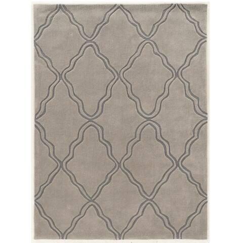 Hand Tufted TRIO Trellis Grey Polyester Rug