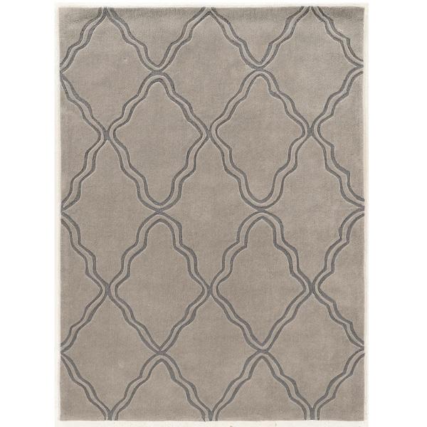 "Hand Tufted TRIO Trellis Grey Polyester Rug (1'10"" X 2'10"")"