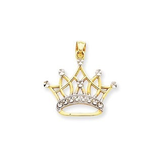 14k Yellow Gold Rhodium Crown Pendant