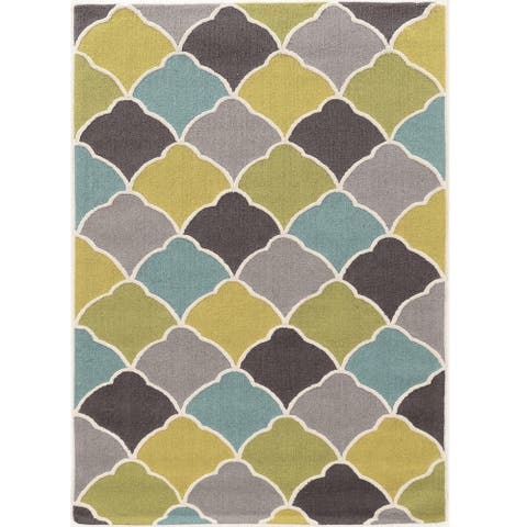 Hand Tufted TRIO Tiles greens gold blue Polyester Rug