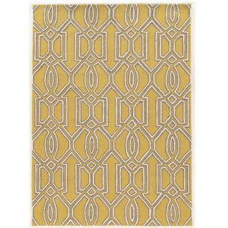 """Hand Tufted TRIO Silo Yellow Polyester Rug (1'10"""" X 2'10"""")"""