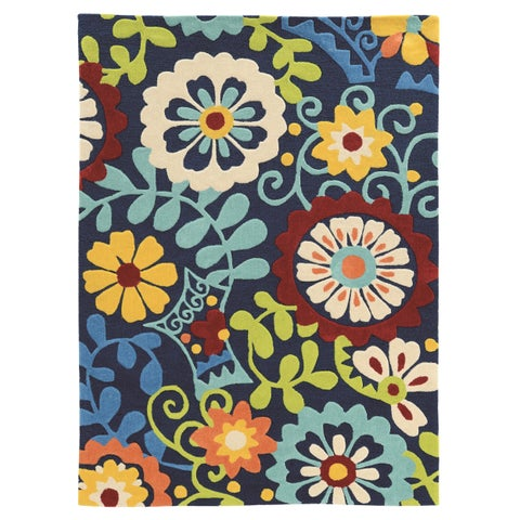 Hand Tufted TRIO iFrond Blue Polyester Rug (5' X 7')
