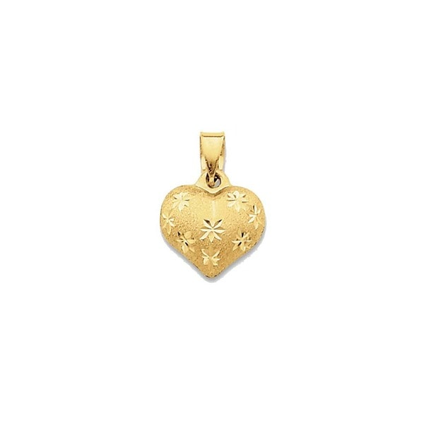c7cafe024d3 14k Yellow Gold Satin and Diamond-cut Puffed Heart Pendant