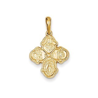 14k Yellow Gold Four Way Medal Pendant