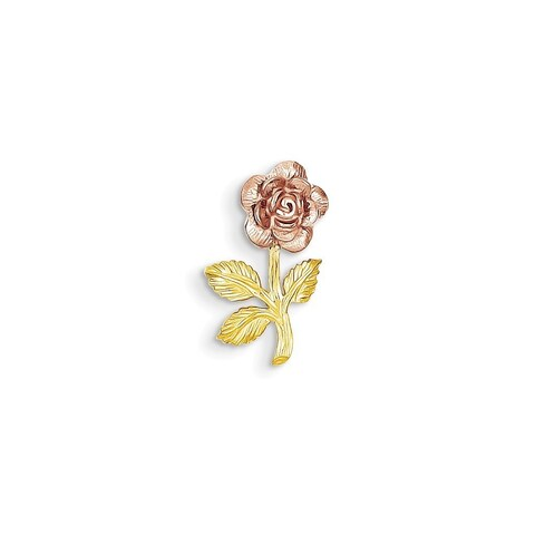 14k Two-tone Gold Mini Rose Flower Pendant