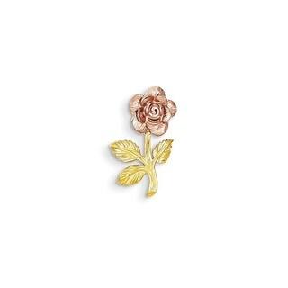 14k Two-tone Gold Mini Rose Flower Pendant