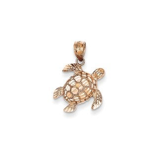 14k Rose Gold Diamond-cut Turtle Pendant