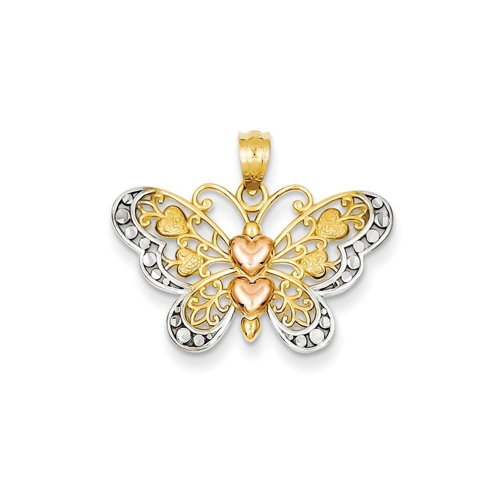 14k Yellow Gold/Rhodium Butterfly Pendant (Two-Tone), Wom...
