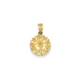 14k Yellow Gold Polished Sun with Face Pendant