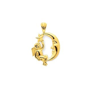 14k Yellow Gold Angel Moon and Star Pendant