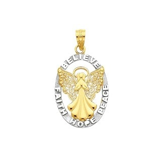 14k Yellow Gold with Rhodium 'Believe, Peace, Faith, Hope' Angel Pendant
