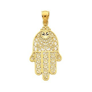 14k Yellow Gold Diamond-cut Filigree Chamseh Pendant