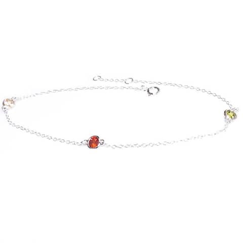 Queenberry Sterling Silver Round Colorful CZ Link Cable Chain Anklet