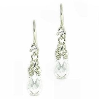 Queenberry Sterling Silver Swarovski Crystal BRIOLETTE CZ Clear Butterfly Dangle Earrings