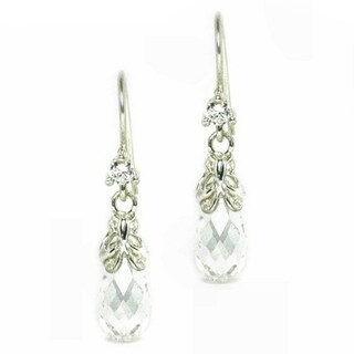 Queenberry Sterling Silver Swarovski Crystal BRIOLETTE CZ Clear Butterfly Dangle Earrings