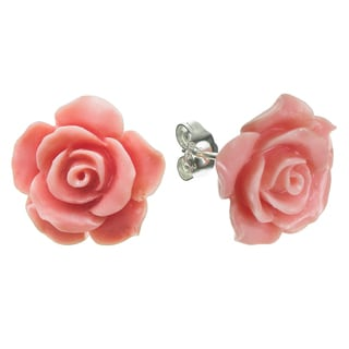 Queenberry Sterling Silver 15mm Simulated Pink Coral Rose Stud Post Earrings