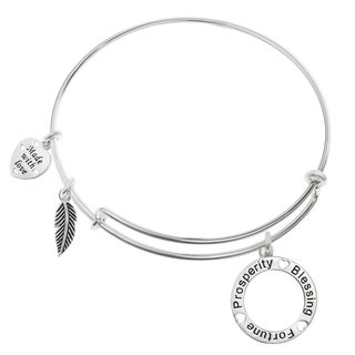 Qina C. Sterling Silver Prosperity Blessing Fortune Heart Feather Dangle Charm Adjustable Wire Bangle Bracelet