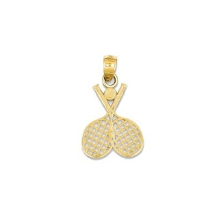 14k Yellow Gold Double Tennis Racquet Charm