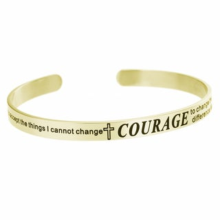 Qina C. Stainless Steel Christian Bible Courage Quote Adjustable Cuff Bracelet
