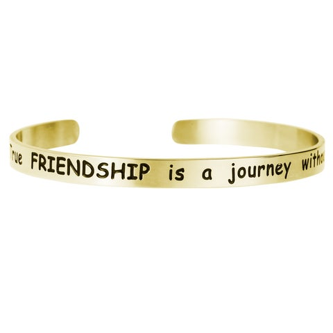 Qina C. 'True Friendship Is a Journey Without End' Adjustable Cuff Bracelet Wristband Bangle
